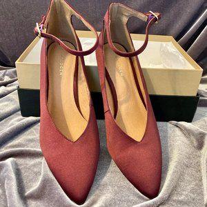 Halogen Ankle Strap Maroon Heels